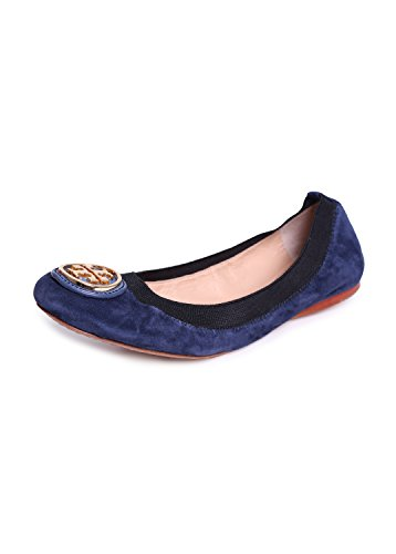 Tory Burch Caroline Suede Logo Ballet Flat Shoes, Clare Blue/Black (6.5) -