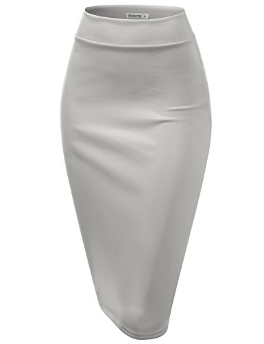 CLOVERY Pencil Skirts Plus Size Casual Skirt Elastic Waist Band Scuba Streychy Solid Color Grey L by CLOVERY