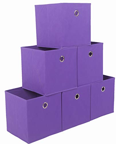 Amborido Storage Cubes Foldable Drawers Office Toys Room Organizer Cubby Clothes Fabric Kids Bins 6 Pack (Purple) ()