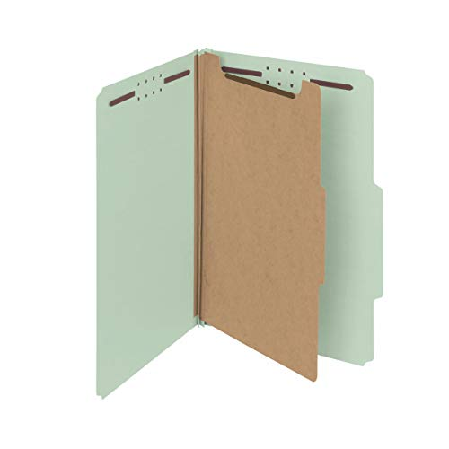 Smead 100% Recycled Pressboard Classification File Folder, 1 Divider, 2 Expansion, Legal Size, Gray/Green, 10 per Box (18722)