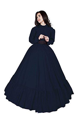 Civil War Reenactment Victorian Garibaldi 3 Piece Dress (2XL/3XL, Indigo)]()