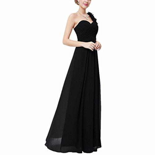 QIYUN.Z Mujeres Un Vestido De Boda Largo De Las Damas De Honor Del Partido De Tarde Del Baile De Fin De Curso De La Gasa Del Hombro Negro
