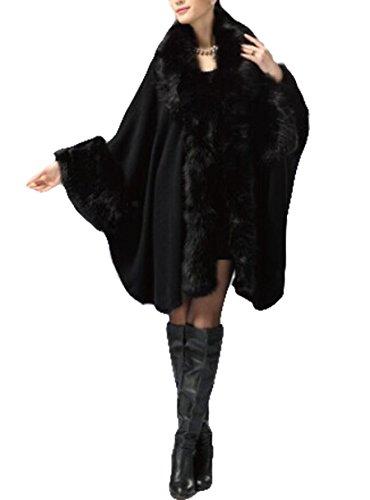 PLAER aux femmes Faux Fox Fur Chale Cape revtement European American Cardigan de style Jacket Noir