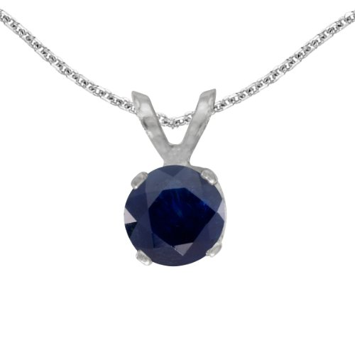 This 14k white gold round sapphire pendant features a 5 mm genuine natural sapphire with a 0.53 ct total weight. by sendmyjewelry