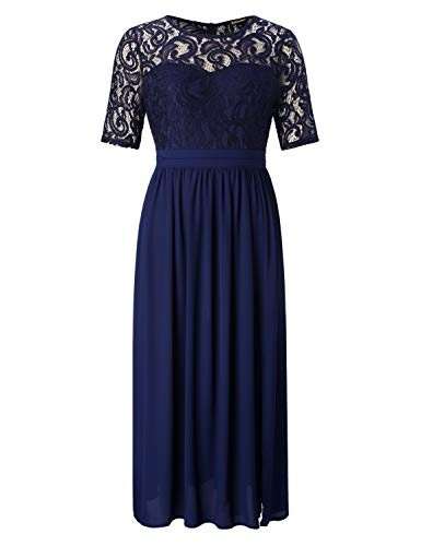 Chicwe Womens Plus Size Guipure Lace Maxi Dress - Wedding Party Cocktail Dress with Flared Skirt Floor Length