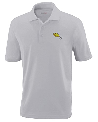 Speedy Pros Sport Fishing Spoon 1 Embroidery Unisex Adult Button-End Spread Short Sleeve Polyester Performance Polo Shirt Golf Shirt - Platinum, 3X Large