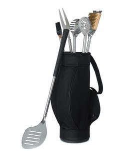 Novelty-5-Piece-BBQ-Tools-in-Black-Golf-Bag-and-Golf-Grips