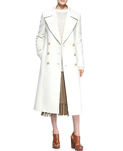 2018 Double Breasted Cashmere Wool Coat Jacket White (Small) - Cashmere Breasted Double