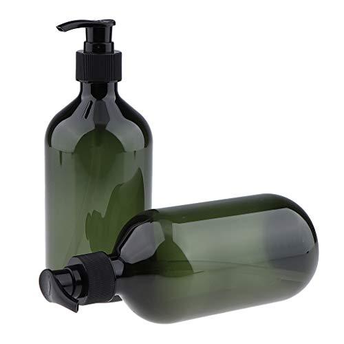 (B Blesiya 2 Pack 16 ounce Refillable Empty Durable Plastic Shampoo & Conditioner Pump Bottle Set - Green)