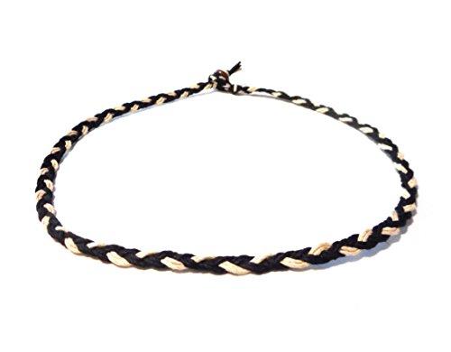 - Braided Black and Natural Hemp Necklace Choker Men's Women's Surfer Hawaiian Style - Handmade