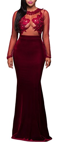 made2envy Mesh Lace Applique Velvet Evening Maxi Gown Dress (S, Red) R80368RS Set with Lace Panties