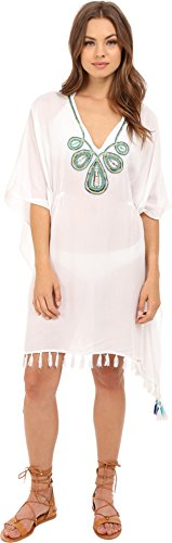 JETS by Jessika Allen Women's Adorn Embroidered Kaftan Cover-Up White Swimsuit Top