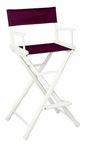 30 in. Classic Director's Chair w White Frame & Burgundy Canvas - Classic 30 Inch Directors Chair