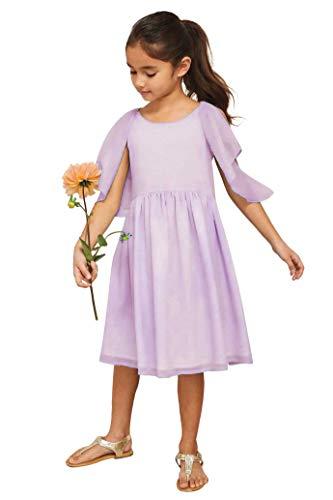 Chasing Fireflies Girls Flutter Shoulder Dress Lavender ()