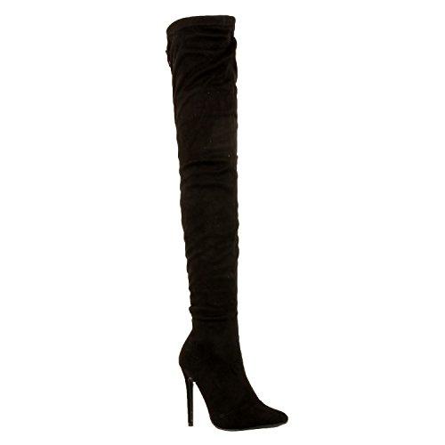 Guilty Schuhe Damen Sexy Pull Up Stiletto Slouchy High Heel - Overknee Oberschenkel Hohe Stiefel Blackv2 Wildleder