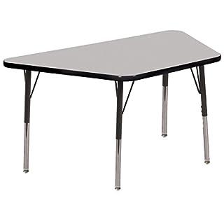 "ECR4Kids Mesa Everyday 30"" x 60"" Trapezoid School Activity Table, Standard Legs w/Swivel Glides, Adjustable Height 19-30 inch"