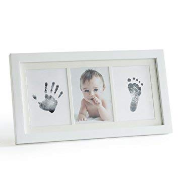 JANGO Wooden Keepsake Photo Frame for Newborn Baby, Hand & Footprint Picture Frame Kit with Cleantouch Ink Pad (White)