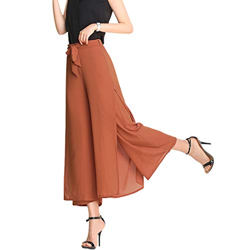 (Fendou Women Palazzo Wide Leg Flowing Pants Chiffon High Waist Casual Trousers Caramel)