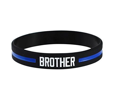 Thin Blue Line Police Officer Awareness Silicone Band 7.5