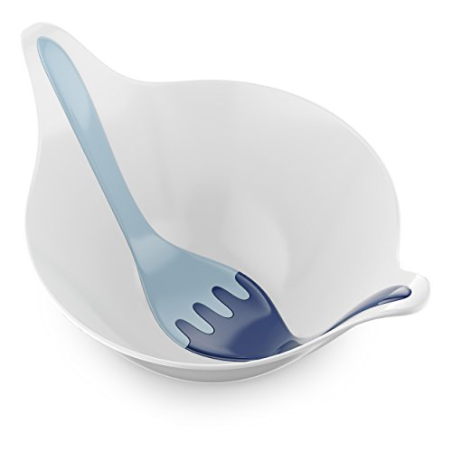 Koziol 3693409 Leaf 2.0 Bowl/Salad Servers, One Size Cotton White-Deep Velvet Powder Blue
