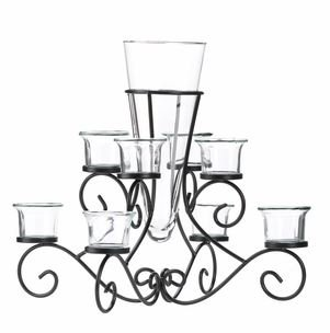 SKB Family Candle Scrollwork Iron Stand Centerpiece Vase Black Surrounded by 6 Glass Cup New Flower Home Decor Table Candelabra (Vase Scrollwork)
