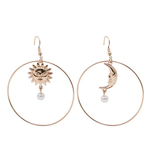 (JETEHO 1 Pair Sun Moon Earring, Gold Plated Asymmetric Moon and Star with Imitation Pearl Insert Big Round Dangle)