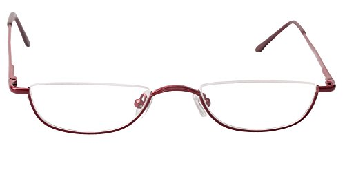 SOOLALA Vintage Designer Alloy Flat Top Half Frame Stylish Slim Reading Glasses, Red, 2.25 by SOOLALA (Image #4)