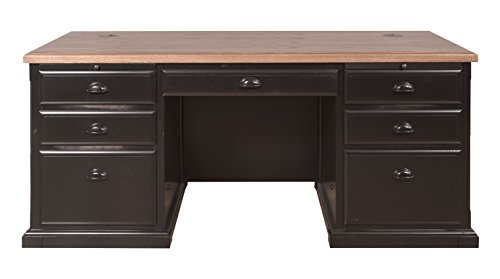 kathy ireland Home by Martin Southampton Double Pedestal Executive Desk - Fully Assembled - Martin Furniture Oak Executive Desk