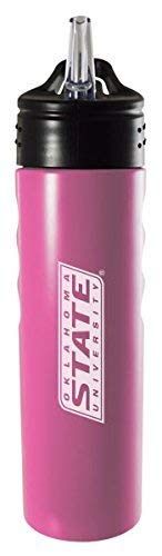 Oklahoma State University-Stillwater-24oz. Stainless Steel Grip Water Bottle with Straw-Pink