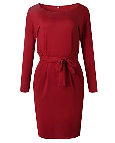 Midi Dress with Wine Office Women's AELSON Casual Sleeve Long Pencil Waist Belt Pocket Tn68Swz