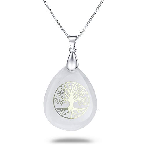 Ylwjewelry Tree of Life Necklace Natural Germstone Chakra Necklace Pendant Teardrop Healing Crystals Jewelry with Adjustable Chains Gift for Women Men