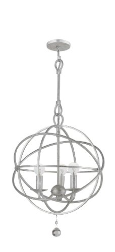 Crystorama 9225-OS Transitional Three Light Mini Chandeliers from Solaris collection in Pwt, Nckl, B/S, (Olde Iron Mini Pendant)