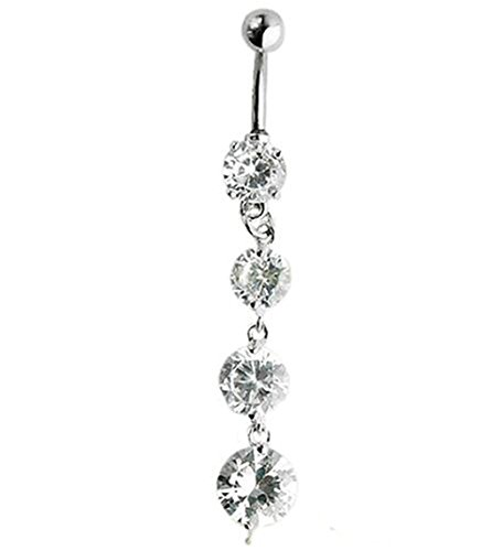 - Delicate White Plated Crystal Zircon Tassel Dangle Navel Belly Button Ring Bar Piercing