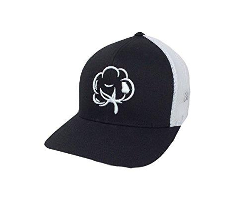 Heritage Pride Georgia State Pride Cotton Boll Trucker Hat-Black, White -