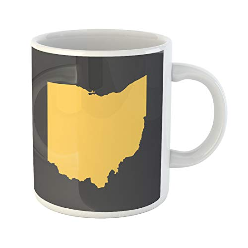 Semtomn Funny Coffee Mug Cincinnati Ohio Yellow Border Map Cleveland Toledo Abstract America 11 Oz Ceramic Coffee Mugs Tea Cup Best Gift Or Souvenir -