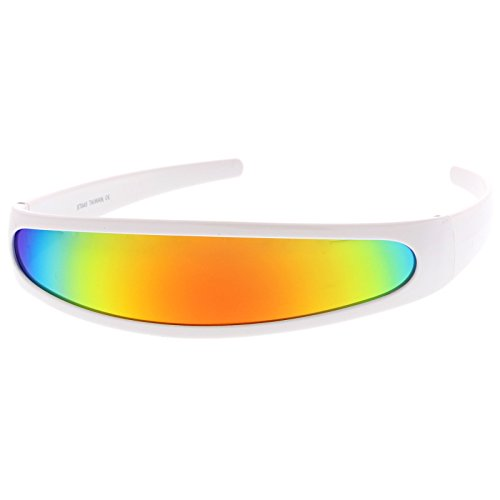zeroUV - Futuristic Narrow Cyclops Color Mirrored Lens Visor Sunglasses (White / - Contact Cyclops Lenses