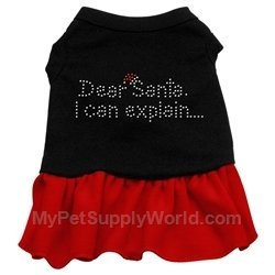 Mirage Pet Products Dear Santa Rhinestone 12-Inch Pet Dress, Medium, Black with Red