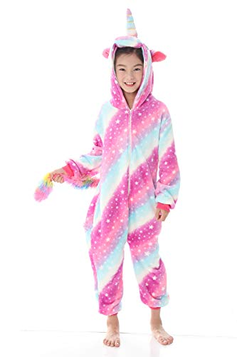 (JYUAN Kids Soft Unicorn Onesie Animal Pajamas Halloween Cosplay Costume Sleepwear Gift for Girls and Boys (Galaxy, 110(Suggest Height)