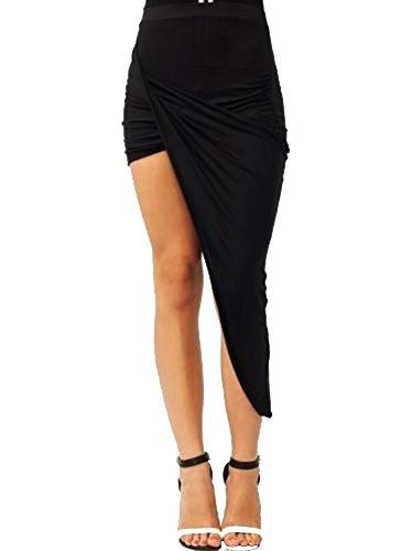 OLRAIN Womens Drape Asymmetrical Skirt