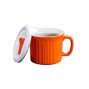 Corningware 20-Ounce Oven Safe Meal Mug with Vented Lid, Carrot