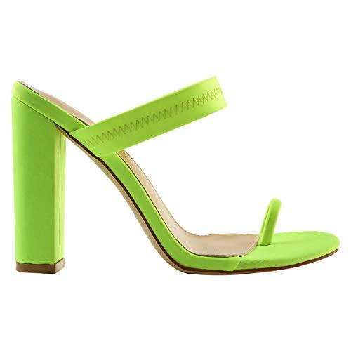 OLCHEE Women's Fashion Strappy High Heel Mules Sandals - Pointy Open Toe Slipper Toe Ring - Block Heels Neon Green Size 9 ()