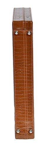 Echtes Leder Croc Print Klassisches Attache Aktenkofferbeutel Kombinationsschloss HOL87 Braun