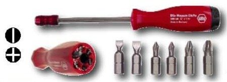 Wiha 38033 Slotted, Phillips and Clicfix Quick Release Magnetic Bit Holder, 7 Piece