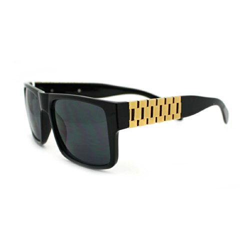 Luxury Hip Hop Gold Metal Chain Temple Rectangular Horn Rim Sunglasses - Chain Sunglasses With Gold