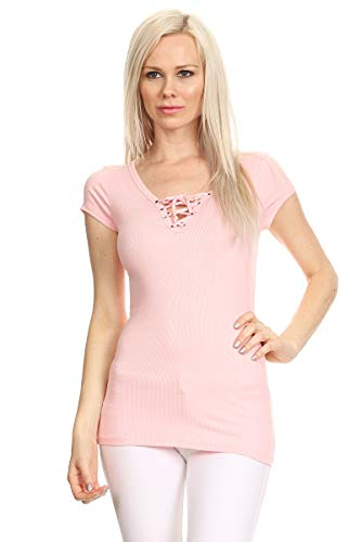 en's Junior Ribbed Lace up Cap Sleeve V-Neck Top (Small, Blush) ()