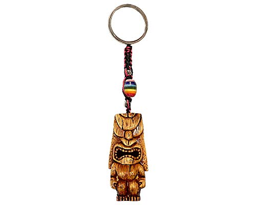 (Lono Totem Polynesian Tiki Mask Handpainted Figurine Dangle Handmade Keychain Multicolored Braided Macramé Bead Silver Keyring Hanging Ornament Charm Car Bag Accessory)