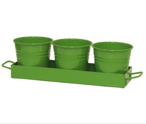 Houston International 7400-4E AG Set Of Three Small Steel Planters With Tray, Apple - Outlets Houston Texas