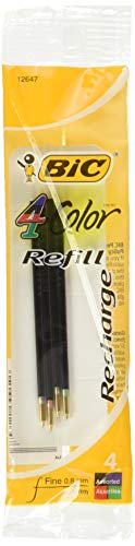 BIC Refill for 4-Color Retractable Ballpoint Pen, Red/Blue/Green/Black, 4 per Pack (BICFRM41)