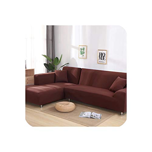 Gentle Illusion Stretch L Shaped Sofa Cover for Living Room Chaise Longue Sofa Cover Sectional Slipcover Corner Sofa Cover L Shape Elastic 2 Pcs,Coffee,3 Seater 190-230Cm