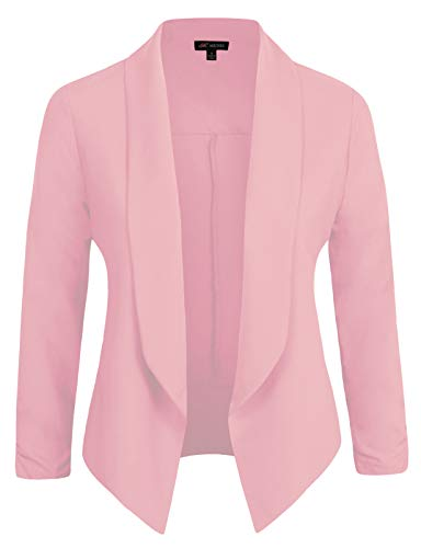 Michel Womens Casual Blazer Work Office Lightweight Stretchy Open Front Lapel Jacket Rose Large